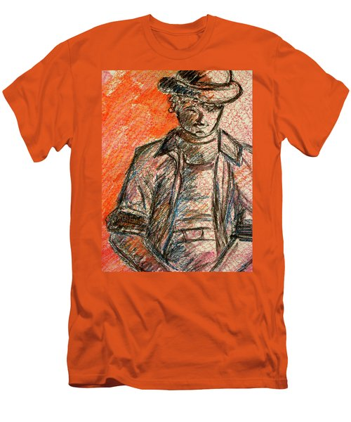 Men's T-Shirt (Slim Fit) featuring the painting Boy In Red by Cathie Richardson