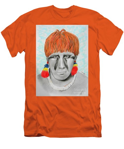 Kuikuro From Brazil -- Portrait Of South American Tribal Man Men's T-Shirt (Athletic Fit)