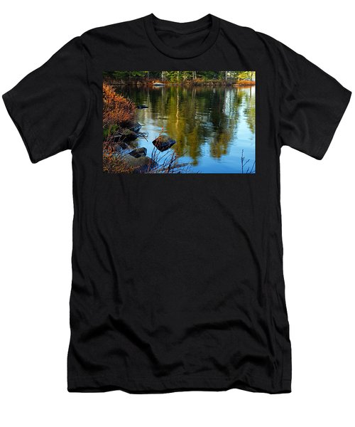 Morning Reflections On Chad Lake Men's T-Shirt (Slim Fit) by Larry Ricker