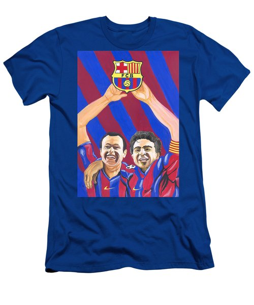 Men's T-Shirt (Slim Fit) featuring the painting Xavi And Iniesta by Emmanuel Baliyanga