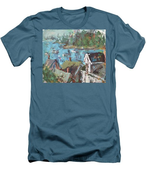 Original Modern Abstract Maine Landscape Painting Men's T-Shirt (Athletic Fit)