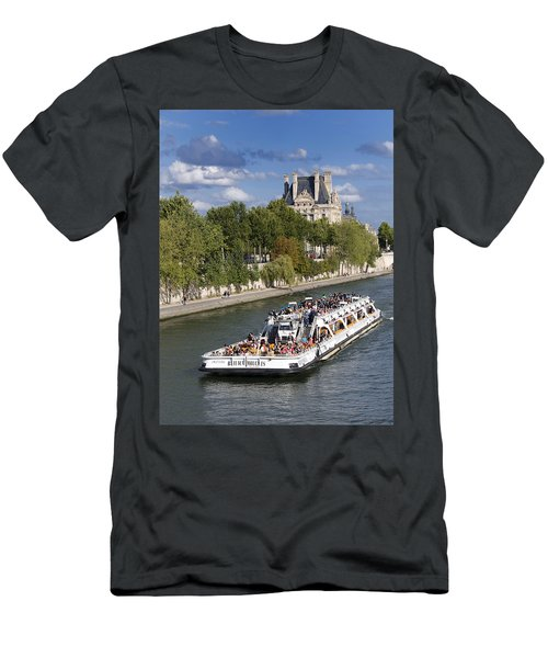 Sightseeing Boat On River Seine To Louvre Museum. Paris Men's T-Shirt (Athletic Fit)