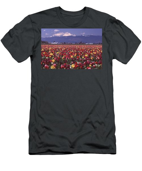 Field Of Tulips And Mount Baker Men's T-Shirt (Athletic Fit)