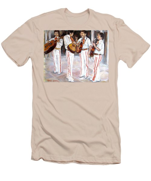 Men's T-Shirt (Slim Fit) featuring the painting Mariachi  Musicians by Carole Spandau