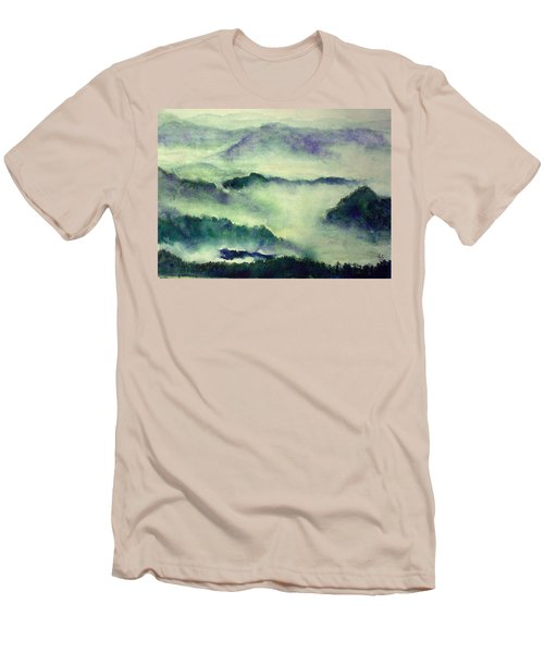 Men's T-Shirt (Slim Fit) featuring the painting Mountain Oriental Style by Yoshiko Mishina