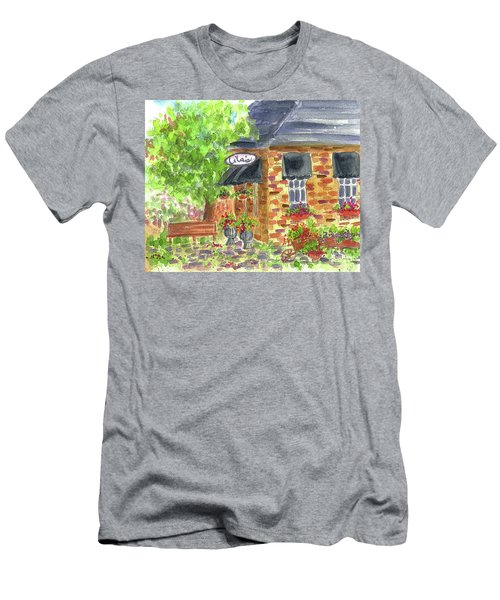 Men's T-Shirt (Slim Fit) featuring the painting Lila's Cafe by Cathie Richardson