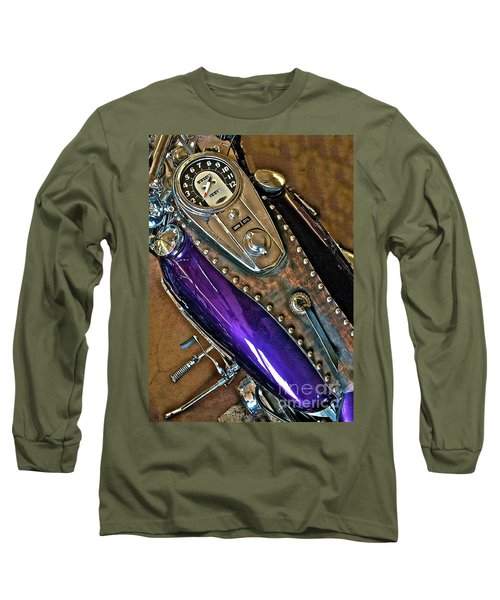 1953 Purple Harley Panhead Long Sleeve T-Shirt by Linda Bianic