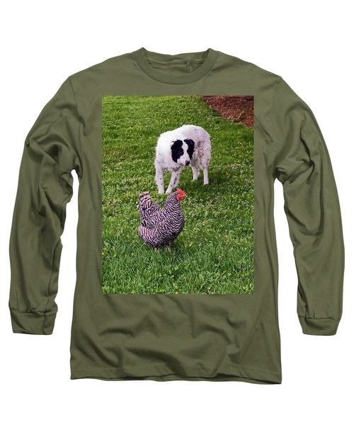 Border Collie Herding Chicken Long Sleeve T-Shirt by Sally Weigand