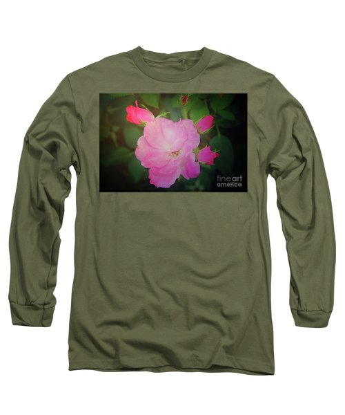 Pink Roses  Long Sleeve T-Shirt by Inspirational Photo Creations Audrey Woods