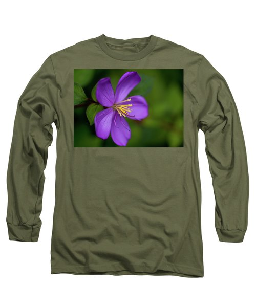 Purple Flower Macro Long Sleeve T-Shirt by Dan McManus