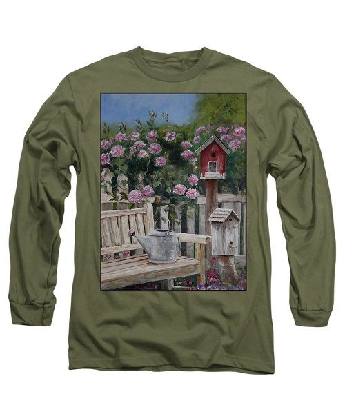 Long Sleeve T-Shirt featuring the painting Take A Seat by Mary-Lee Sanders