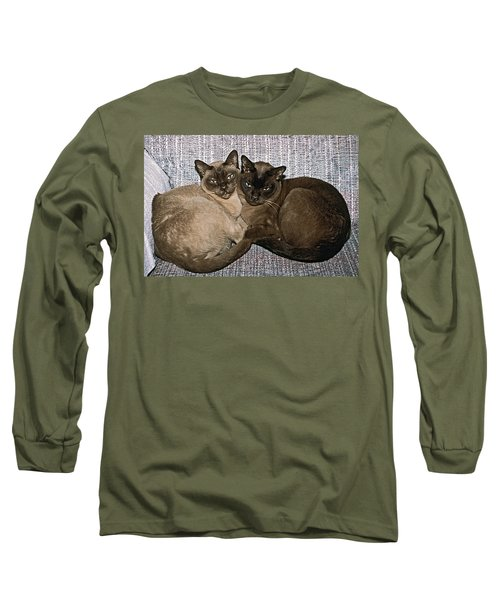 Long Sleeve T-Shirt featuring the photograph Tonkinese Pals by Sally Weigand