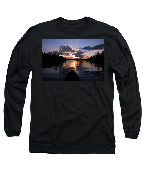 Evening Paddle On Spoon Lake Long Sleeve T-Shirt by Larry Ricker