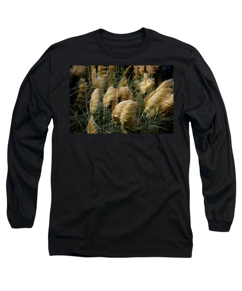 Golden Pampas In The Wind Long Sleeve T-Shirt by DigiArt Diaries by Vicky B Fuller