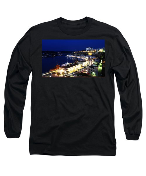 Long Sleeve T-Shirt featuring the photograph Mahon Harbour At Night by Pedro Cardona