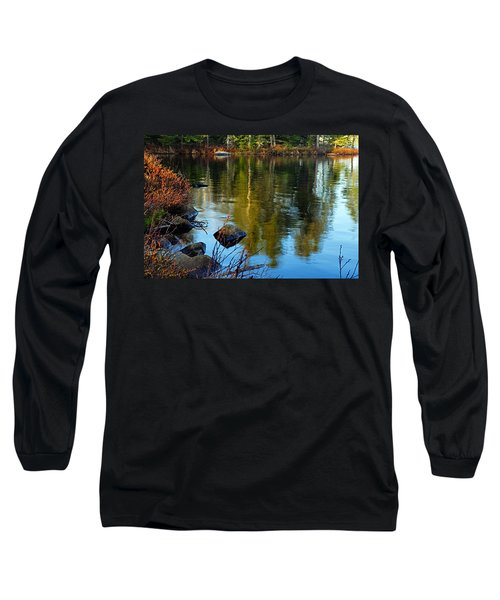 Morning Reflections On Chad Lake Long Sleeve T-Shirt by Larry Ricker