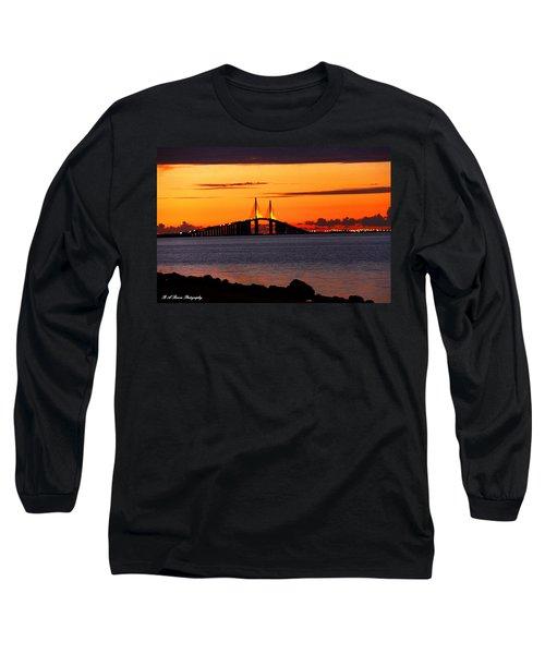 Sunset Over The Skyway Bridge Long Sleeve T-Shirt