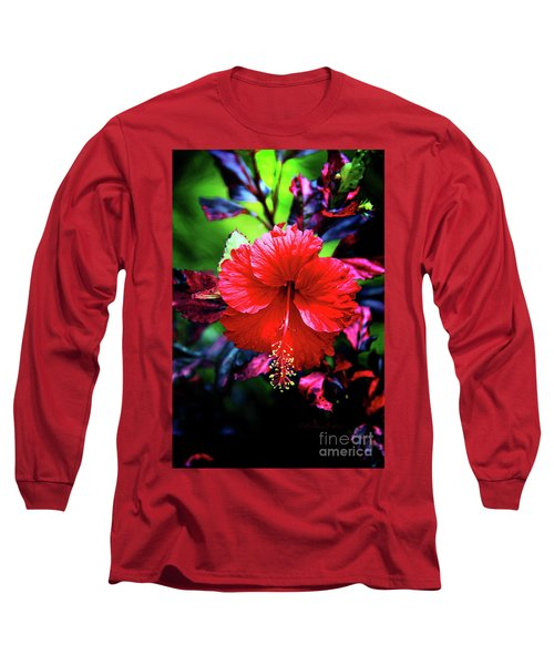 Red Hibiscus 2 Long Sleeve T-Shirt by Inspirational Photo Creations Audrey Woods