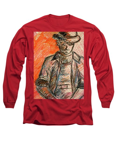 Long Sleeve T-Shirt featuring the painting Boy In Red by Cathie Richardson