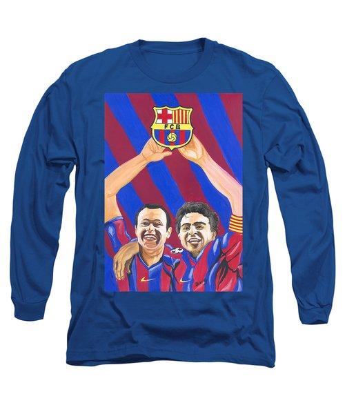 Long Sleeve T-Shirt featuring the painting Xavi And Iniesta by Emmanuel Baliyanga