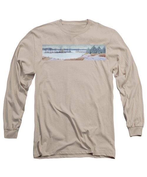 Winter Lake And Cedars Long Sleeve T-Shirt