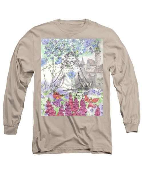 Long Sleeve T-Shirt featuring the painting Celestial Castle by Cathie Richardson