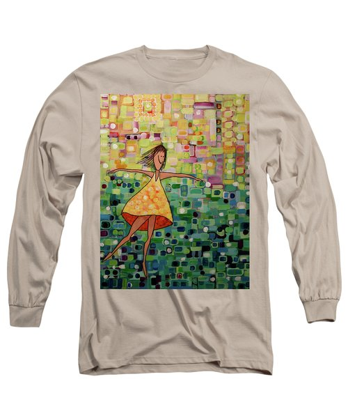 Long Sleeve T-Shirt featuring the painting Spinning by Donna Howard