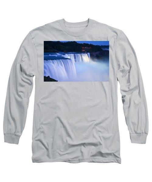 American Falls Niagara Falls Long Sleeve T-Shirt by Loriannah Hespe