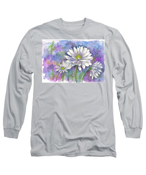 Long Sleeve T-Shirt featuring the painting Daisy Three by Cathie Richardson