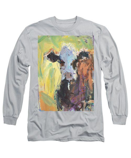 Long Sleeve T-Shirt featuring the painting Expressive Cow Artwork by Robert Joyner