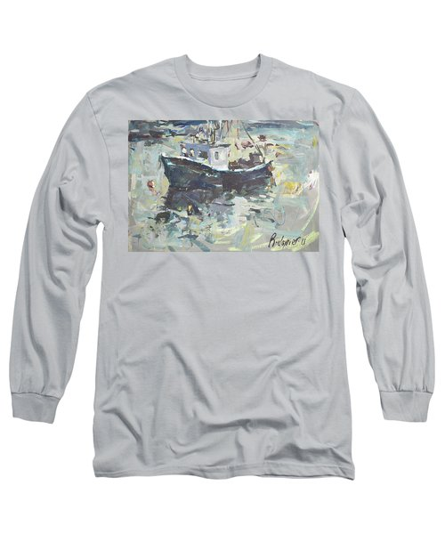 Long Sleeve T-Shirt featuring the painting Original Lobster Boat Painting by Robert Joyner