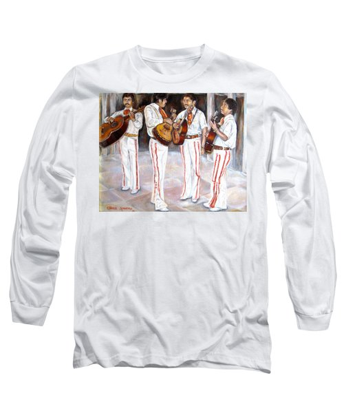 Long Sleeve T-Shirt featuring the painting Mariachi  Musicians by Carole Spandau