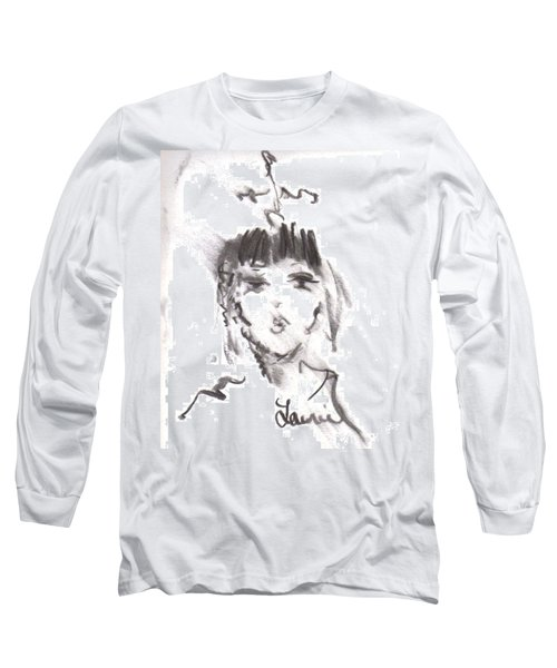 Long Sleeve T-Shirt featuring the drawing Queen Of Kisses by Laurie L