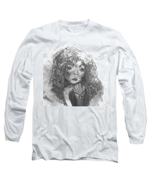 Long Sleeve T-Shirt featuring the drawing The Locket by Laurie L