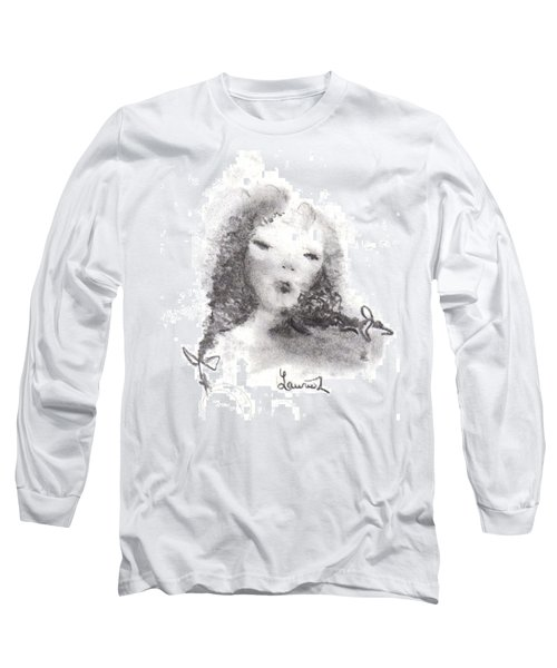 Long Sleeve T-Shirt featuring the drawing Yesterday by Laurie L