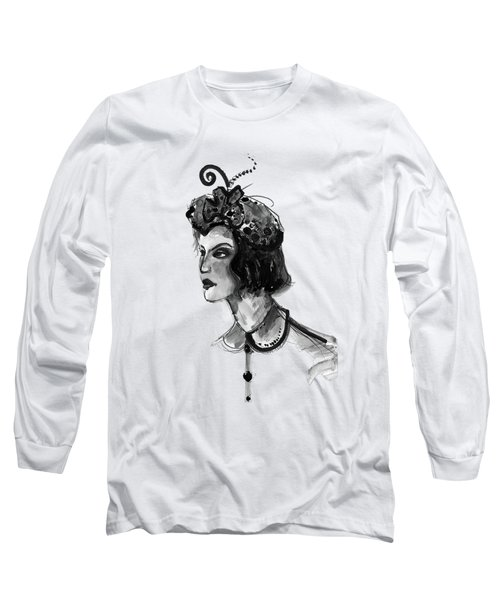 Long Sleeve T-Shirt featuring the mixed media Black And White Watercolor Fashion Illustration by Marian Voicu