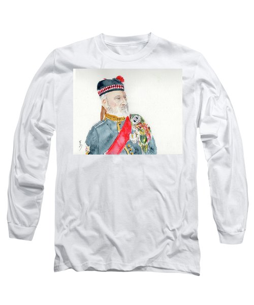 Long Sleeve T-Shirt featuring the painting A Scottish Soldier by Yoshiko Mishina