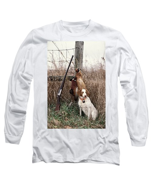 Brittany And Pheasants - Fs000757b Long Sleeve T-Shirt