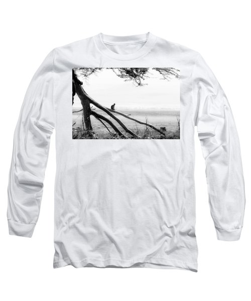 Monkey Alone On A Branch Long Sleeve T-Shirt by Darcy Michaelchuk