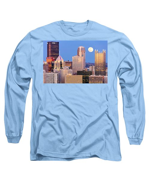 Moon Over Pittsburgh 2 Long Sleeve T-Shirt by Emmanuel Panagiotakis