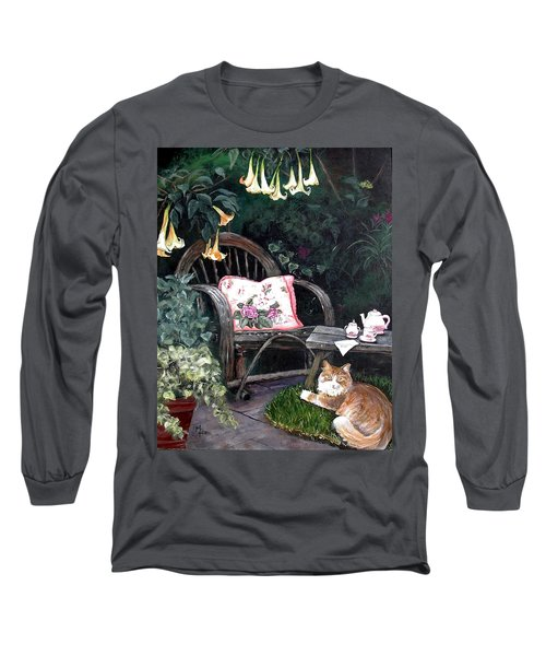 Long Sleeve T-Shirt featuring the painting My Secret Garden by Mary-Lee Sanders