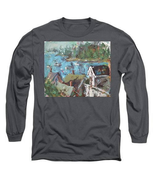 Long Sleeve T-Shirt featuring the painting Original Modern Abstract Maine Landscape Painting by Robert Joyner