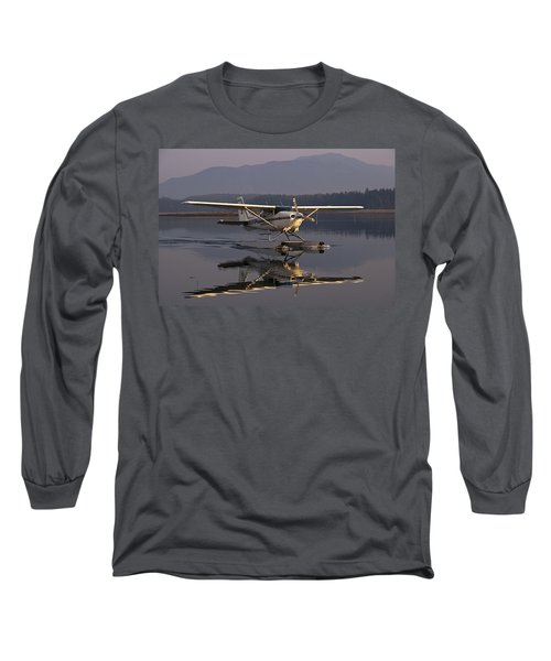 Reflections Of A Float Plane Long Sleeve T-Shirt by Darcy Michaelchuk