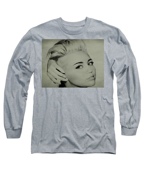 Long Sleeve T-Shirt featuring the drawing Miley Cyrus  by Brian Reaves