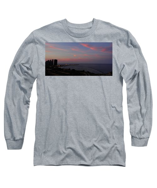 Chicago Lakefront At Sunset Long Sleeve T-Shirt