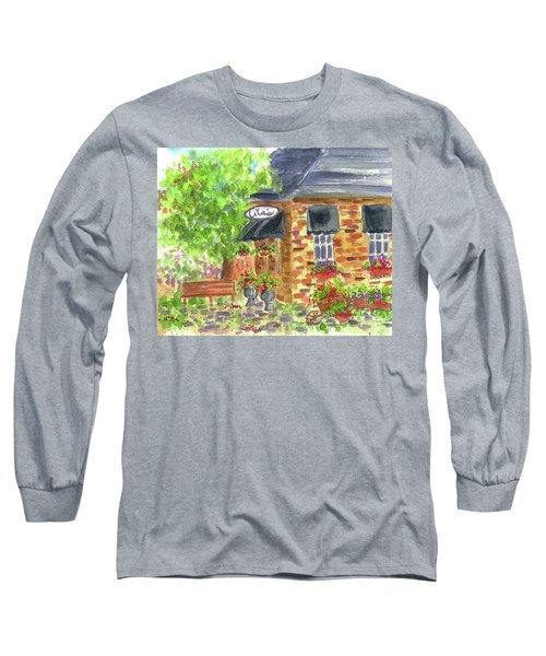 Long Sleeve T-Shirt featuring the painting Lila's Cafe by Cathie Richardson