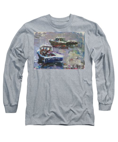 Long Sleeve T-Shirt featuring the painting Two Lobster Boats by Robert Joyner