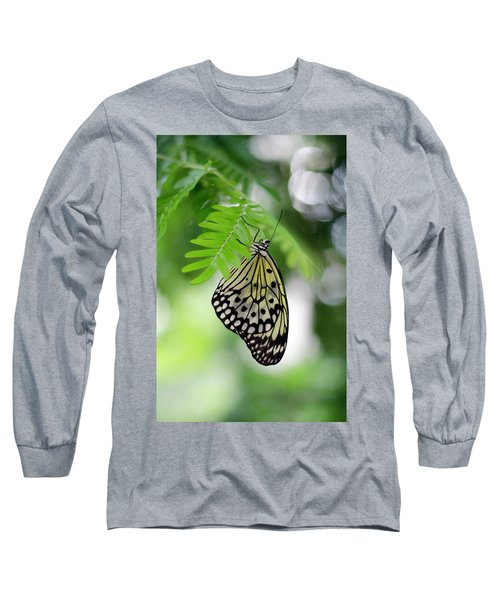 White Tree Nymph Butterfly 2 Long Sleeve T-Shirt