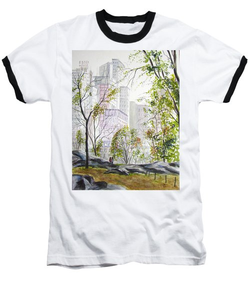 Central Park Stroll Baseball T-Shirt by Clara Sue Beym