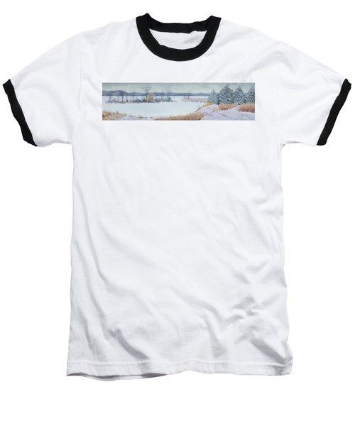 Winter Lake And Cedars Baseball T-Shirt by Garry McMichael